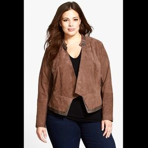 Sejour suede leather open jacket brown